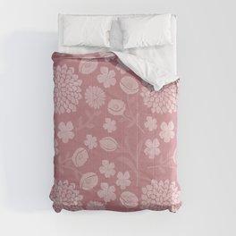 Modern botanical pink coral white floral illustration Comforters