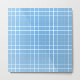 Aero - heavenly color - White Lines Grid Pattern Metal Print