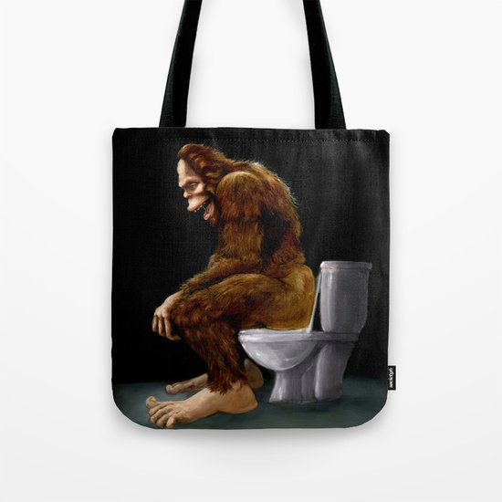 Bigfoot breaks into some Dude's Cabin and Totally takes a fat Dump in his toilet Tote Bag
