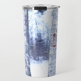 Red Bird House in Winter White Scene #decor #society6 #buyart Travel Mug