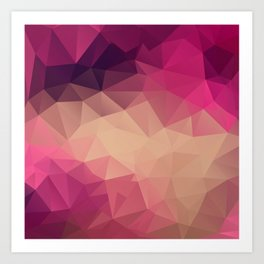 Polygon picture . Sunset. Art Print