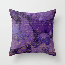 Modern Purple Ink Wash Abstract With A Grunge Gold Writing Overlay Throw Pillow