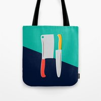 chef Tote Bags featuring Chef Knives by Sam Osborne