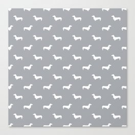Dachshund pattern minimal grey and white dog lover home decor gifts accessories silhouette Canvas Print