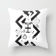 Alice in Wonderland Series - I'm late, I'm late... for a very important date! Throw Pillow