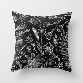 Floral Pattern II Black and White Throw Pillow