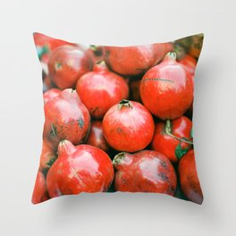 Red pomegranates on a fruit cart in Marrakech Morocco | Colorful travel food photography Throw Pillow