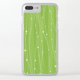 Green Pattern With Lines And Dots Clear iPhone Case