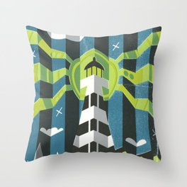 Haunted West Point Light House Throw Pillow