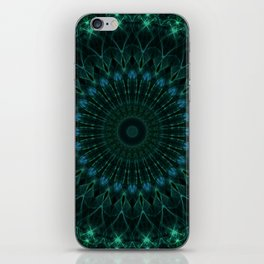 Mandala in dark green and blue tones iPhone Skin