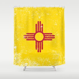 New Mexico State Flag Grunge Shower Curtain