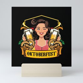Oktoberfest Frau Drindl Beer Mini Art Print