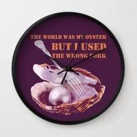 oscar wilde Wall Clocks featuring Oscar Wilde #1 The Oyster by bravo la fourmi