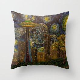 Seattle Starry Night Throw Pillow