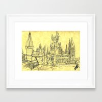 hogwarts Framed Art Prints featuring Hogwarts by Christina Brunnock