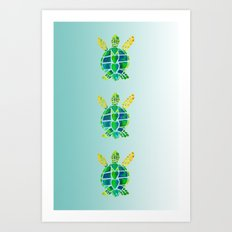 Swimming Baby Sea Turtles Art Print