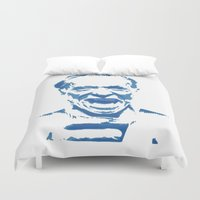 bukowski Duvet Covers featuring Charles Bukowski Stencil Blue  by All Surfaces Design