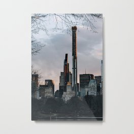 Sunset view of modern skyscrapers in Central Park south winter Metal Print