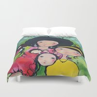 girls Duvet Covers featuring Girls by Linderholm Design