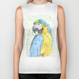 "Watercolor Painting of Picture ""Macaw"" Biker Tank"