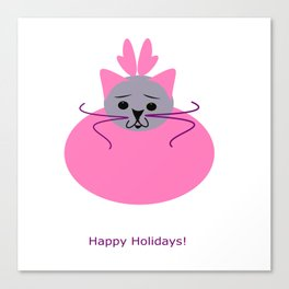 Happy Holidays (pink)- purrfect gifts for cat lovers Canvas Print