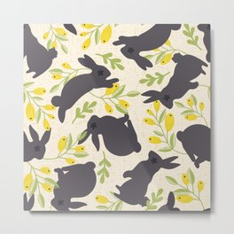 Spring Rabbits and Lemons Metal Print