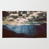mountains Area & Throw Rugs featuring mountainS Dark Sunset by 2sweet4words Designs
