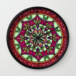 Garden Leaves Mandala Wall Clock