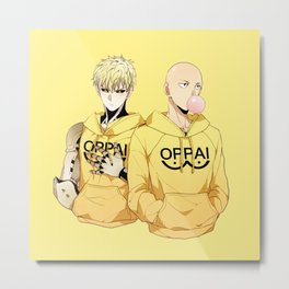 Saitama and Genos Yellow Oppai Metal Print
