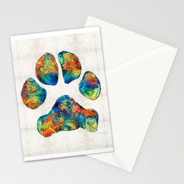 Colorful Dog Paw Print by Sharon Cummings Stationery Cards
