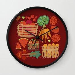 Farmers Market Veggies on Red_Robin Pickens Wall Clock