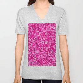 Watercolor Chinoiserie Block Floral Print in Magenta Pink Porcelain Tiles Unisex V-Neck