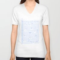 notebook V-neck T-shirts featuring Fuzzy Homework {clean} by Tobe Fonseca