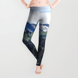 Three Sisters Mountains Photography Print Leggings