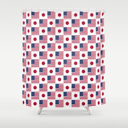Mix of flag: USA and Japan Shower Curtain