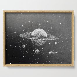 """""""Saturn's Moons"""" Hand-Drawn by Dark Mountain Arts Serving Tray"""