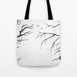 dried tree branches with birds and leaves on a light background Tote Bag