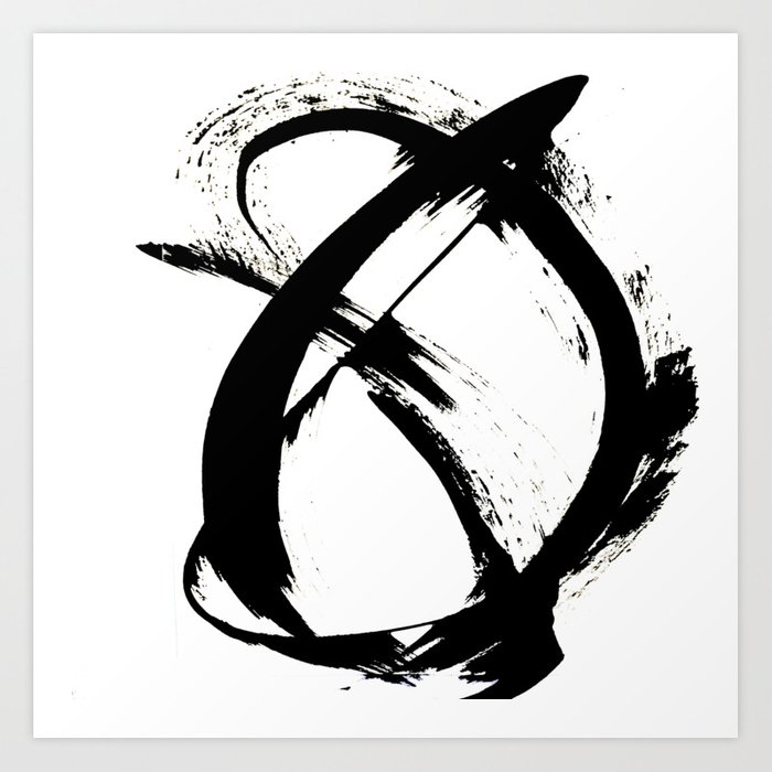 Brushstroke 7: a minimal, abstract, black and white piece Art Print