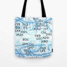 World Airport Code Map Tote Bag