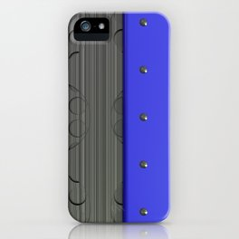 Colored plate with rivets and circular metal grille iPhone Case
