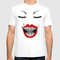 MANEATER. White SMALL Mens Fitted Tee