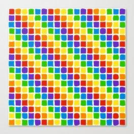 Rainbow Mosaic in Diagonal Stripes on White Canvas Print