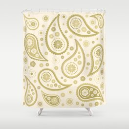Paisley Funky Design Gold & Cream Shower Curtain