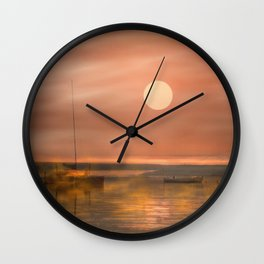 Boats in the fog Wall Clock