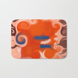 abstact design pink orange blue brown Bath Mat