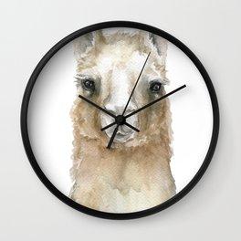 Llama Watercolor Painting Wall Clock