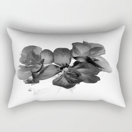 Black Geranium in White Rectangular Pillow