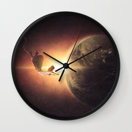Floating Above Earth Wall Clock