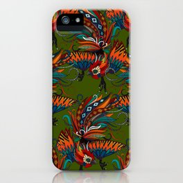 rooster ink green iPhone Case