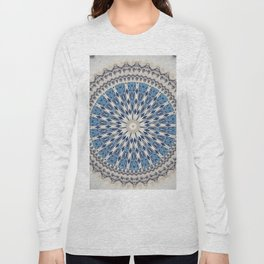 Bright Blue Marble Mandala Design Long Sleeve T-shirt